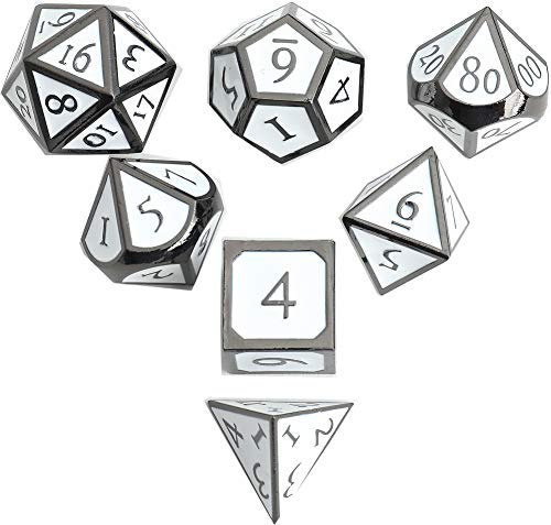DND Polyhedral Metal Game Dice Black and White 7pc Set for Dungeons...