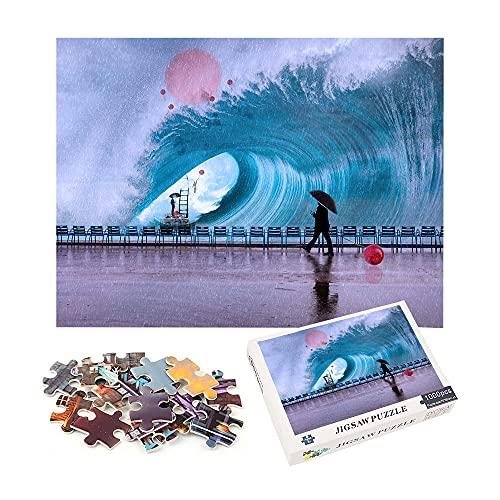 1000 piezas de rompecabezas Olas enormes Decoración creativa Rompecabezas de regalo novedoso 70x50cm-Fantasía