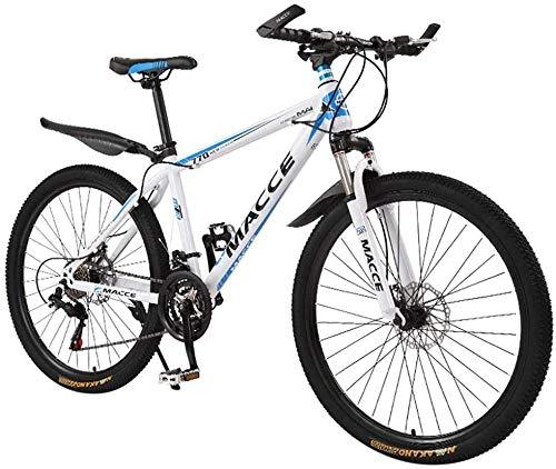 SZZ0306 26 pollici pieghevole mountain bike in acciaio al carbonio mountain bike 24 velocità full sospensione MTB fuoristrada mountain bike forcella sospensione ragazzi bici da uomo, bianco