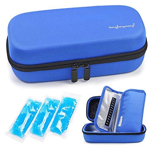 YOUSHARES Insulin kühltasche Reise Tasche - Medikamente isoliert Diabetiker Tragbaren Kühler Tasche für Insulin Pen, Glukose-Meter und Diabetes kühltasche mit 3 Kühlakkus (EVA Blau)