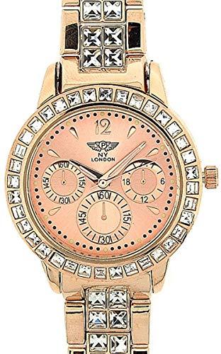 Prince London PI-7060Gold - Orologio da polso da donna, cinturino in metallo colore oro