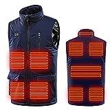 WANGTIANXUE Chaleco calefactor eléctrico con 11 zonas, para hombre y mujer, con 3 temperaturas facultativas, chaqueta térmica para el cuerpo en exteriores, caza, senderismo o moto, azul oscuro, XXXL