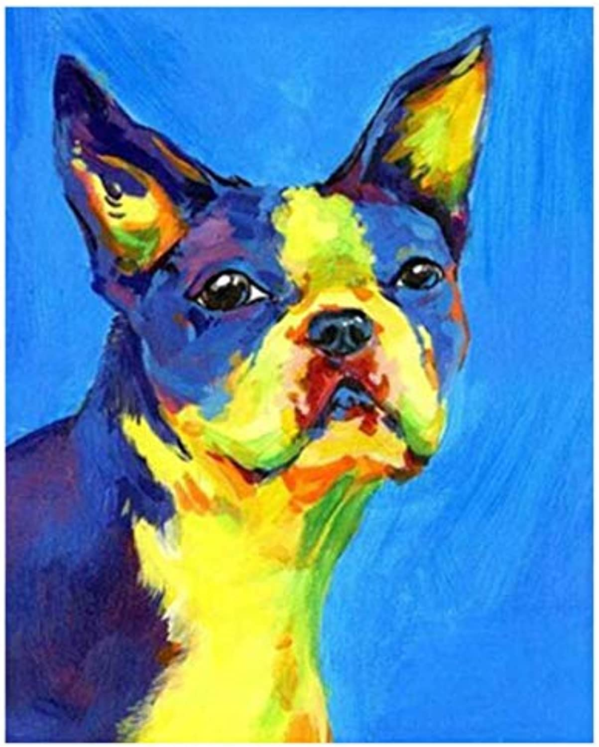 UPUPUPUP Living Room Decoration,Wall Photos For Living Room,colorful Dog,Diy Oil Painting By Numbers,Tworidc550X70Cm Framed