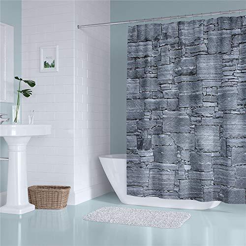 LGANY douchegordijn - modern, eenvoudig en prachtig bedrukt douchegordijn met inkijkbescherming, met haakjes verdikt, bestand tegen meeldauw, waterdicht polyester badgordijn