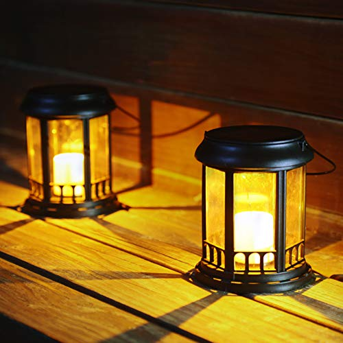 newvivid LED Solar Garden Light Pathway Lighting 3 in 1 Outdoor LED Flickering Candle Table Lanterns with Stake Solar Powered Pathway Lights Waterproof for Patio, Yard, Lawn, Walkway 2Pcs
