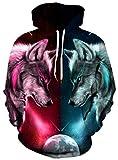 Loveternal 3D Hoodies Impresión Wolf Sudaderas con Capucha con Cordón Bolsillo Maquillaje Pullover Sweatshirt para Mujeres Hombres M