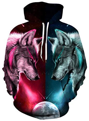 Loveternal Wolf Hoodie Männer Bunte 3D Gedruckt Pullover Unisex Langarm Gemustert Sweatshirts für Jugendliche Jumper L