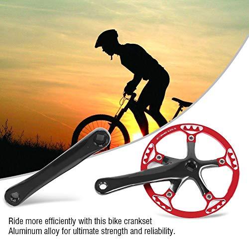 Dioche Speed Kurbelgarnitur, Fahrrad Kurbelgarnitur 170mm Fahrrad Kettenblatt Kettenblatt 45T 47T(Schwarz + Rot 45T) - 7