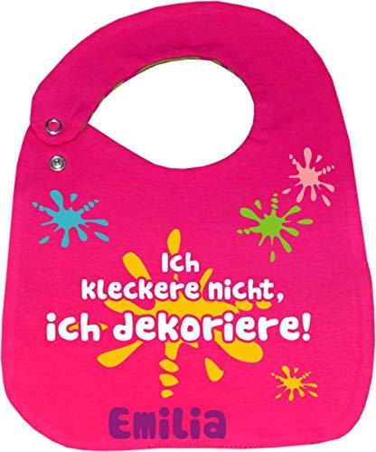 KLEINER FRATZ größenverstellbares Baby Wende Lätzchen NEU (pink-navy) Ich kleckere nicht ich dekoriere
