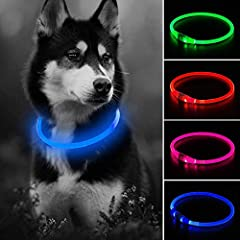 GLOWING&SAFETY DOG COLLAR: The collar made of durable plastic, your dog will be seen easily in night walk or vehicles. ADJUSTABLE DOG COLLAR: Our led dog collar light length 27.5 inch, it could be cutted by scissors to fit your pet. THREE LED DOG LIG...