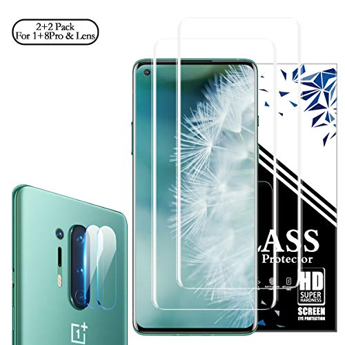 OnePlus 8 Pro Screen Protector + Camera Lens Protectors, RUAN [2 + 2 Pack] Full Coverage Screen Protector,HD Clarity,Anti Scratch,Touch Screen Protector for OnePlus 8 Pro