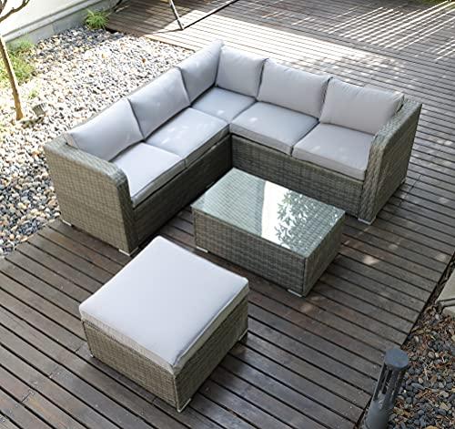 6 Seaters Corner Sofa Sunny Set with Raincover Rattan Garden Patio Outdoor Furniture Set -Mixed Grey