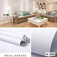 壁紙シール 壁紙タイル 簡単貼付シール 粘着PVC防水壁紙、リビングルームのテレビの背景の寝室の壁紙-601冬日白#60cm * 5m
