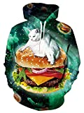 Galaxy Cat Hoodys Sweater for Men Green Lightweight Long Sleeve Sweatshirt Womens Novelty Taco Pizza Rave Hoodies Man Vintage Animal Graphic Crewneck Thin Jersey 90s Guys Work Party Hooded Tops, M