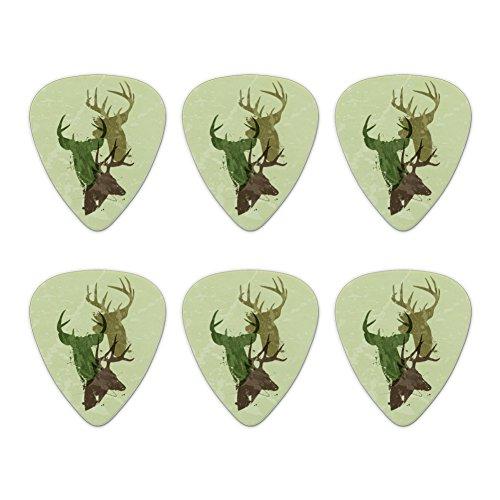 Deer Heads Trio Design Hunting Hunter Camouflage Novelty Guitar Picks Medium Gauge - Set of 6