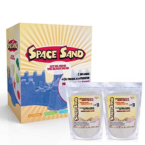Leo & Emma Space Sand 1.8kg Set 50tlg. Formen Zahlen Buchstaben Burg Modellierwerkzeug Modellierwanne, kinetischer magischer Sand, viele Farben, TÜV getestet, Modell 2020 (1.8kg weiß)