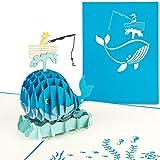 PaperCrush® Pop-Up Karte Angeln - Lustige 3D Geburtstagskarte als Geschenkidee für Angler, Glückwunschkarte für Rentner oder Ruhestand - Handgemachte Angelkarte, Angelgutschein, Anglergeschenk