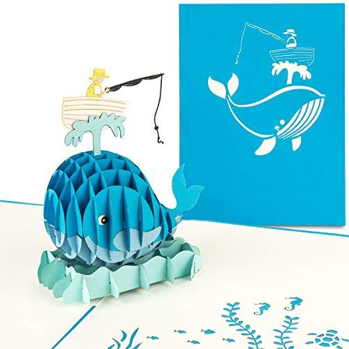 PaperCrush® Pop-Up Karte Vatertag Angeln - Lustige 3D Vatertagskarte, Geburtstagskarte als Geschenkidee für Angler, Rentner oder Ruhestand - Handgemachte Angelkarte, Angelgutschein, Anglergeschenk