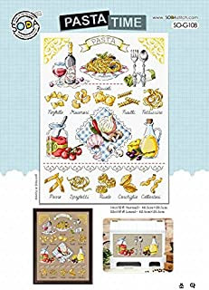 SO-G108 PASTA TIME, SODA Cross Stitch Pattern leaflet, authentic Korean cross stitch design chart color printed on coated paper