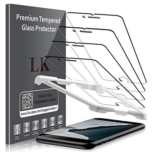 LK Panzerglas für iPhone SE 2020, 4 Stück iPhone SE 2020 Schutzfolie, [Keine weißen Ränder] 9H Härte Panzerglasfolie, HD Klar Displayschutzfolie, [Anti-Kratzen] [Blasenfrei] [Einfacher Montage]