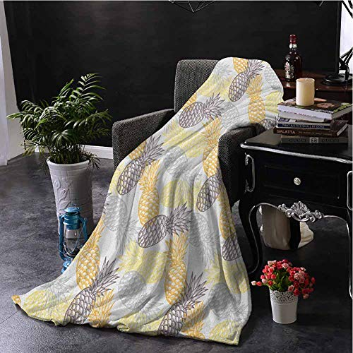 hengshu Fruits Bedding Fleece Blanket Queen Size Soft Toned Exotic Pineapple Figures Tropical Diet Food Artistic Illustration Super Soft Cozy Queen Blanket W59 x L70.5 Inch Marigold Dimgray