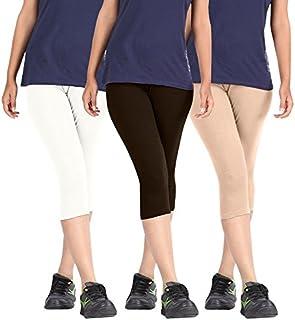 Pixie Capri Leggings | 3/4th | Pants | Combo Pack of 3 for Women/Girls/Ladies (White, Dark Brown and Beige) - Free Size