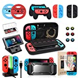 Switch Accessories Bundle, Kit with Carrying Case, Protective Case with Screen Protector, Compact...