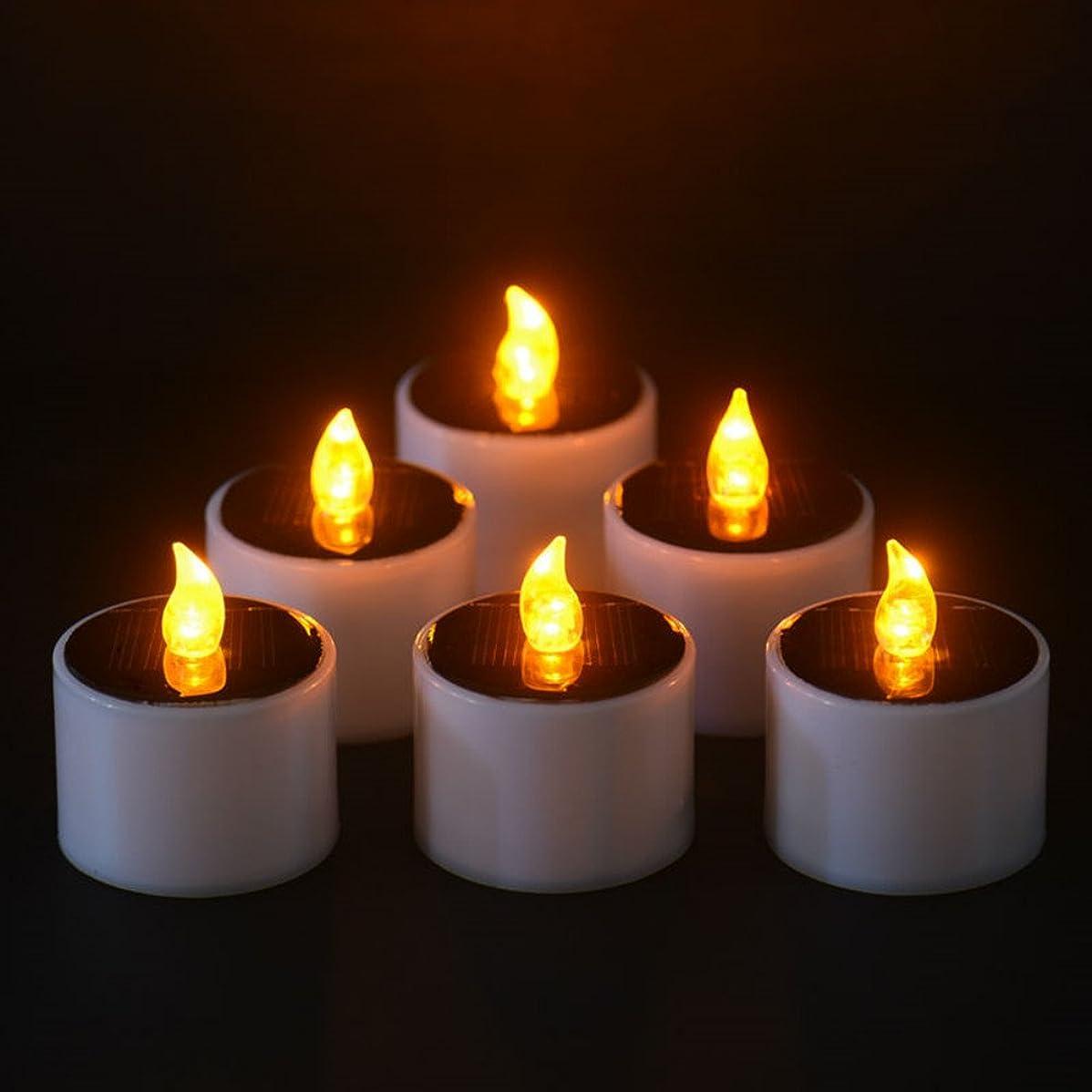 起きて反抗出撃者ソーラーキャンドル、ソーラー電源電子常夜灯LEDキャンドルライトFlameless Tealightsちらつきキャンドル、イエロー、6個のパック
