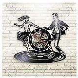 Reloj de Pared Vintage,Reloj Pared de Disco de Vinilo Silencioso Decoración para Habitación Dormitorio Cocina Oficina Bar 30CM。 Baile en dúo