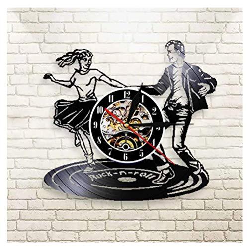 YANGSHUANG Handmade Vinilo Pared Reloj Baile en dúo Reloj de Pared de Vinilo Reloj de Pared de Arte Creativo Hecho a Mano, Movimiento de Cuarzo silencioso, diámetro 30 cm