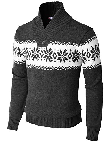 H2H Men's Fashion Slim Fit Shawl Collar Pullover Sweater Charcoal US XL/Asia 2XL (KMOSWL0102)