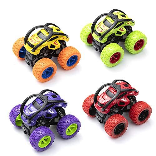 ZWOOS Push und Go Spielzeugautos 4 Stück Geländewagen Auto Spielzeug Set Trägheit Auto Spielzeug mit 360 Grad Drehbare Fahrzeuge Mini Auto Spielzeug für Kinder