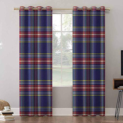 Aishare Store Print Blackout Curtains 84 Inches Long Insulating Room Darkening Blackout Drapes, Old Fashioned Scottish Tartan Country Style with Geometric L, Blackout Window Drapes for Home Décor