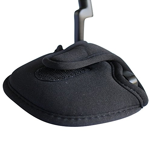 Pacific Golf Clubs Black Golf Putter Headcover Standard Size Neoprene Club Head Cover Perfect for Mallet Putters Fits Most 2 Ball Putters Clubs