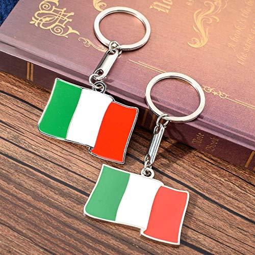 AMITD Schlüsselbund Schlüsselring Italien Flagge Muster Schlüsselanhänger Hochwertige Zink-Legierung Schlüsselbund Für Tasche Schlüsselhalter Charme Hängende Anhänger Autoschlüssel Ring
