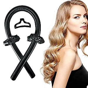 Rulos para cabello largo, sin calor, sin rizos térmicos, cinta de seda suave, para hacer ondas, herramientas de peinado (color negro)