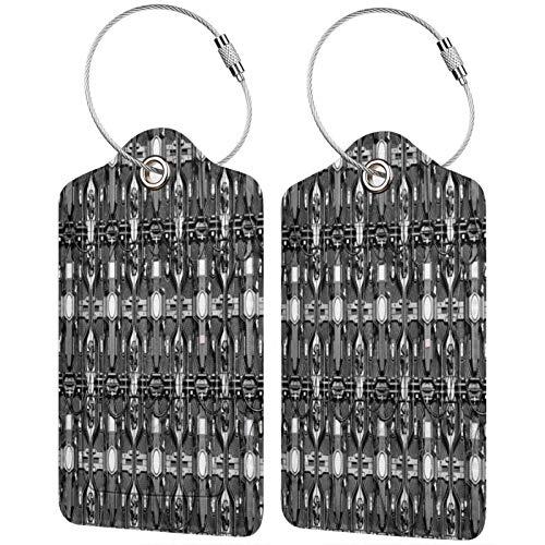 FULIYA Juego de 2 etiquetas de equipaje seguras de alta gama de cuero para maletas, tarjetas de visita o bolsa de identificación de viaje, alambre, detalle, metal, metálico, electrónico.