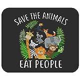 salvare gli animali mangiano persone tappetino per mouse per amante degli animali, regalo per tappetino per mouse per vegani, accessori da scrivania per tappetino per mouse vegani e arredamento per uf