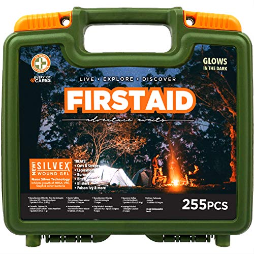 Be Smart Get Prepared 255 Piece Outdoor First Aid Kit - Office, Home, Car, School, Emergency, Survival, Camping, Hunting, and Sports