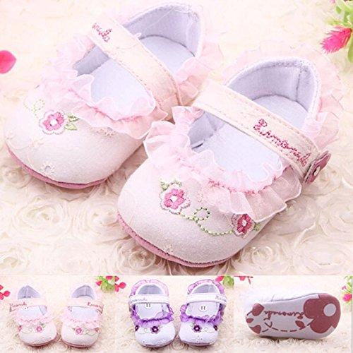 HuntGold 1 Paire de chaussures pour bébé en coton blanc fleur d'impression 0–1 an Magic Tape cadeau anniversaire Noël à chaussures (Taille : 12 cm)