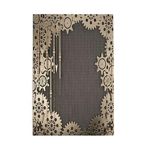 Elementos Steampunk cuadrados abstractos con engranajes dorados, manecillas de reloj, cadenas y varios diseños de metal rompecabezas para la familia adecuado para Navidad 1000 piezas