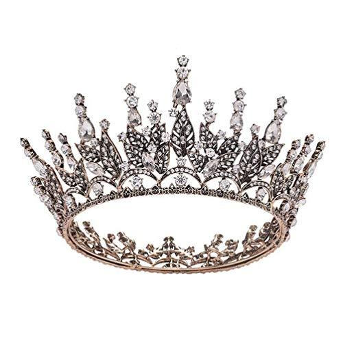 Lurrose Coroa Barroca Liga Folha Coroa Luxuosa Coroa de Strass Vintage Coroa Redonda Cabeça de Cabeça de Noiva Para Férias de Casamento