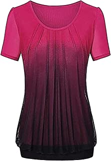 ZEFOTIM Women Casual Gradient Printed Pleated Plus Size Tribal T-Shirt Tops Blouse
