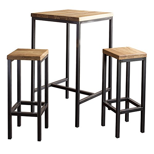 BestLoft.de Bartisch Barton Industriedesign Loft (1 Set: 66er Tisch + 2 Hocker New York, Eiche Natur)