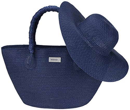 Marino Best Beach Tote Bag and Suns Hat for Women - Floppy Straw Hat and Swimming Bag - Sun Protection Hat UPF 50+ - Navy - One Size