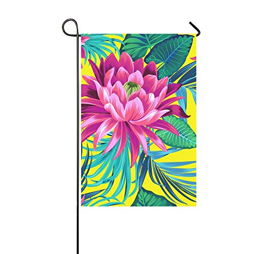 WIEDLKL Home Decorative Outdoor Double Sided Tropical Waterlily Lotus Flower Garden Flag House Yard Flag Garden Yard Decorations Seasonal Welcome Outdoor Flag 12x18in Spring Summer Gift