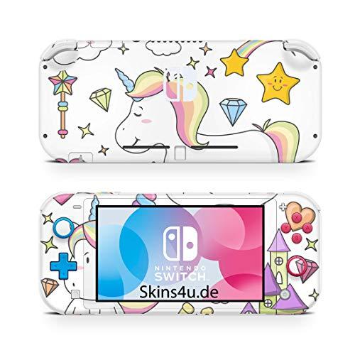 Skins4u Premium Slim Skin Design Aufkleber Schutzfolie Skins für Nintendo Switch Lite Vorder & Rückseite Einhorn Draw