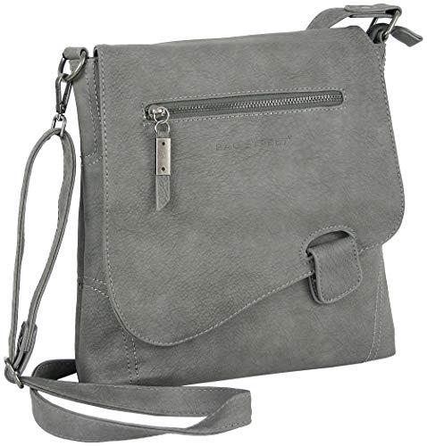 Handtasche Schultertasche UMHÄNGETASCHE Used Optik VON Bag Street, Riegel (Stein-Grau)