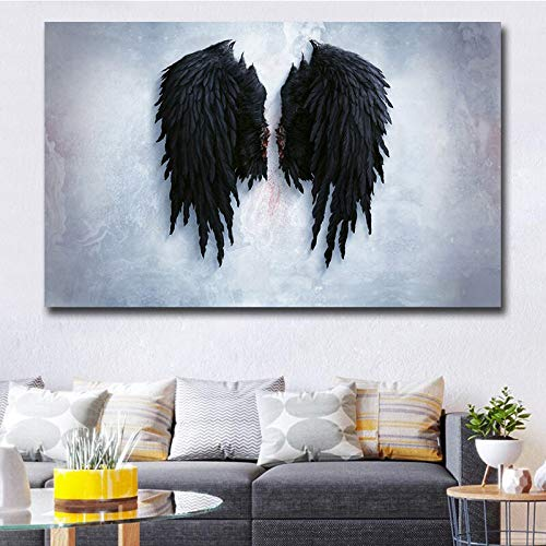 High-definition printed art canvas poster decorated with feather wings of angels and devil, painting alive wall pictures 60x120 Frameless