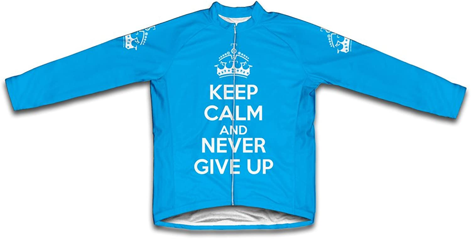 Keep Calm and Never Give Up Long Sleeve Cycling Jersey for Women Light bluee Size 3XL